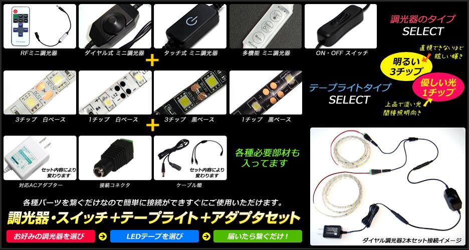 調光器・スイッチ付きテープライト+アダプターセット